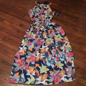 Mlle Gabrielle Floral Print Maxi Dress Gold Chain